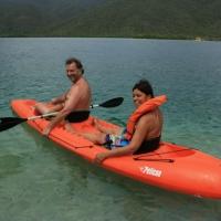 Happy couple - kayaking